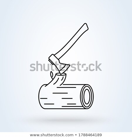 log and axe isolated. Wooden billet and ax on white background Stock photo © popaukropa