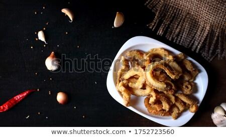 Carne di maiale antipasto bianco piatto insalata ristorante Foto d'archivio © lunamarina