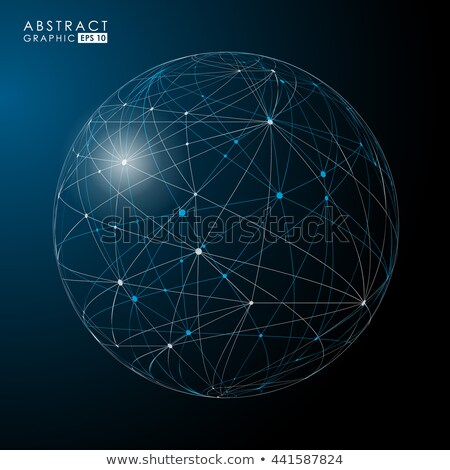 Connection Structure. Point And Curve Constructed The Sphere Wireframe. Vector Futuristic Technology Stock photo © pikepicture