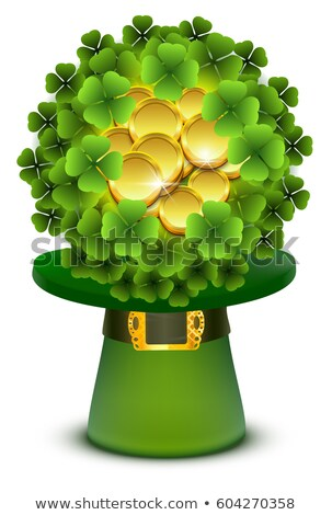 green clover leaves and gold coins ball in top cylinder hat stock photo © orensila