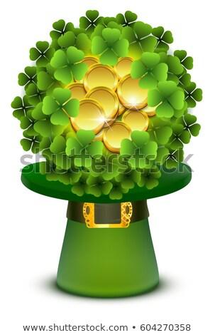 yeşil · üst · silindir · şapka · altın · toka - stok fotoğraf © orensila