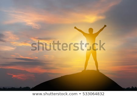 Winning and success. Victorious female person on mountain top. Stock photo © stevanovicigor