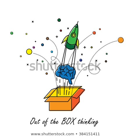 Stock foto: Think Outside The Box Concept With Doodle Design Icons