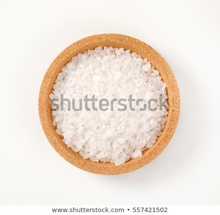 Durva só üveg tengeri só fehér fából készült Stock fotó © Digifoodstock