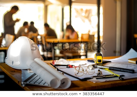 Architect construction engineer working with sketch pen tablet i Stock photo © stevanovicigor