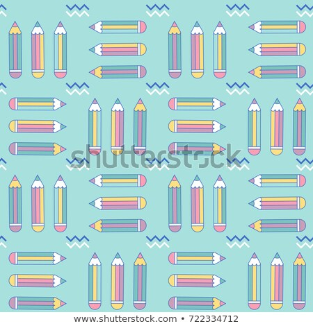 Stock photo: vibrant seamless pattern with pencils in memphis style