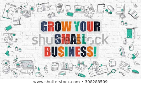 Foto d'archivio: Grow Your Small Business In Multicolor Doodle Design