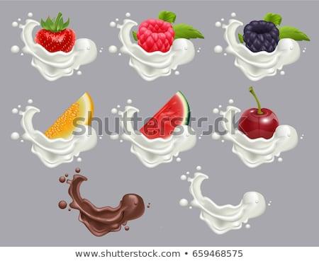 Set dessert of ripe berry fruit and cream. Strawberry, raspberry, cherry, watermelon, melon milk and Stock photo © orensila