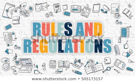 Multicolor Rules and Regulations on White Brickwall.  Stock photo © tashatuvango