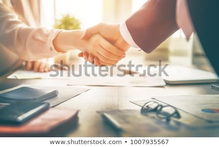 Man and woman shaking hands at desk stock photo © IS2