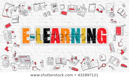 Multicolor Online Learning on White Brickwall. Doodle Style. Stock photo © tashatuvango