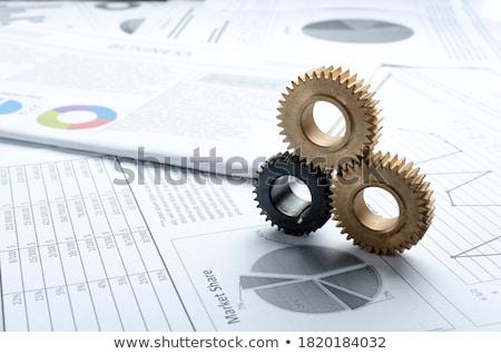 Marketing solutions or métallique Cog engins Photo stock © tashatuvango