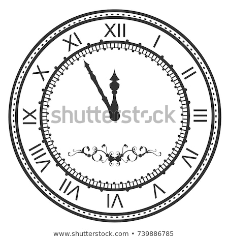 Stock photo: Round watch dial at five minutes to midnight. New Year Eve roman numerals