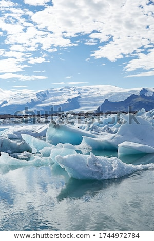 Stock fotó: Tájkép · jég · tó · este · park · Izland