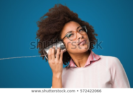 Kız dinleme kalay can telefon eğlence Stok fotoğraf © IS2