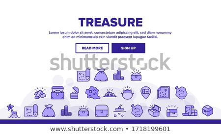 banner template with treasure chest on island stock photo © bluering