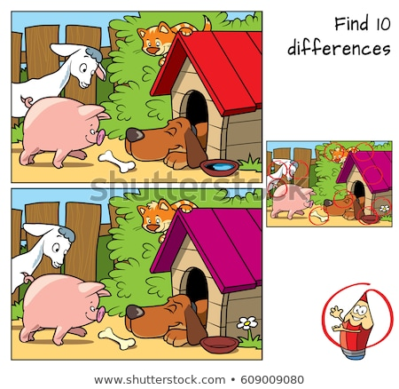 find differences game with goats animal characters stock photo © izakowski
