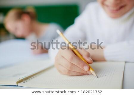 Bloco de notas lápis mesa de madeira negócio papel Foto stock © wavebreak_media