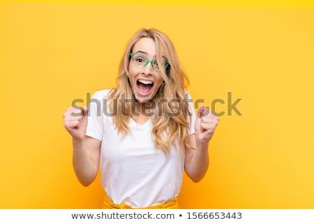 Mujer aislado de moda gradiente feliz Foto stock © leedsn