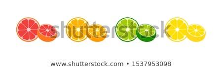 オレンジ 新鮮果物 緑色の葉 単純な アイコン デザイン ストックフォト © hittoon