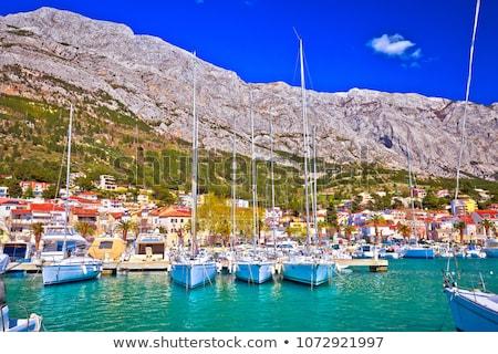 Baska voda waterfront sailing destination in Makarska riviera Stock photo © xbrchx