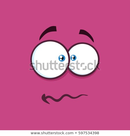Nerveus cartoon vierkante paniek gezicht Stockfoto © hittoon