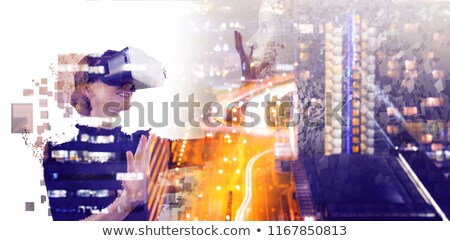 Digital composite of woman with an augmented reality simulator against side view of gray pixelated 3 Stock photo © wavebreak_media