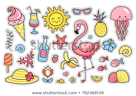 Bonitinho verão conjunto rosa azul amarelo Foto stock © Pravokrugulnik