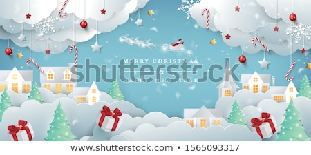 Karácsony szánkó asztal hely üdvözlőlap fa Stock fotó © Melnyk