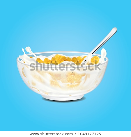 vector set of bowls with breakfast cereal in milk Stock photo © freesoulproduction