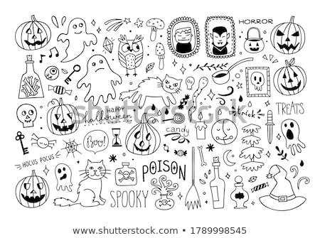 Halloween cartoon outline spooky face pumpkins set  Stock photo © TasiPas