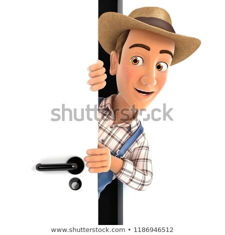 3d farmer peeking behind a door Stock photo © 3dmask