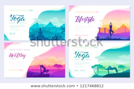 Yoga exercise on the top of the mountains surrounded by nature. Healthy lifestyle for beautiful girl stock photo © Linetale