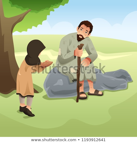 Muslim Girl Giving Food To Homeless Man Illustration Stockfoto © Artisticco