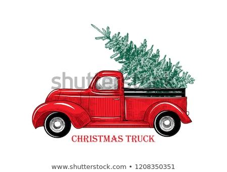 vector christmas truck with fir tree stock photo © dashadima