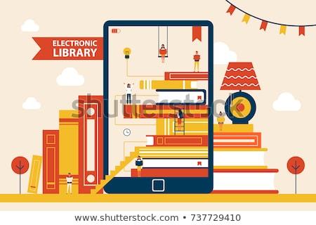 Elektronikus könyvtár berendezés izolált piros ekönyv Stock fotó © robuart