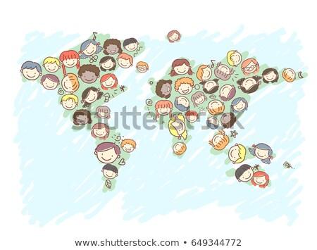 Kinder Geographie Erde Illustration herum Welt Stock foto © lenm