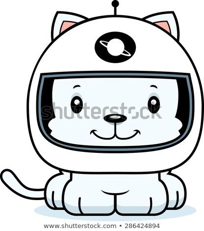 Cartoon glimlachend astronaut kitten gelukkig Stockfoto © cthoman