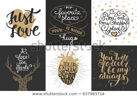 バレンタインデー · グリーティングカード · 書道 · 心 · 手描き - ストックフォト © kollibri