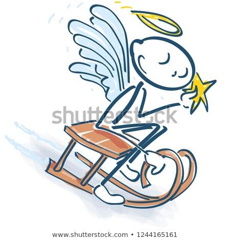 Stick mały anioł sanki dzieci dziecko Zdjęcia stock © Ustofre9