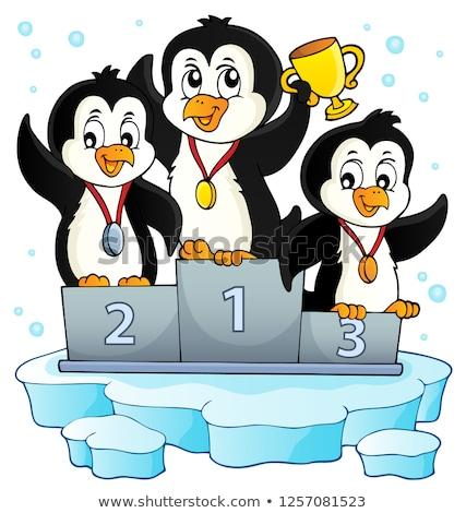 Pinguim vencedores imagem feliz arte inverno Foto stock © clairev