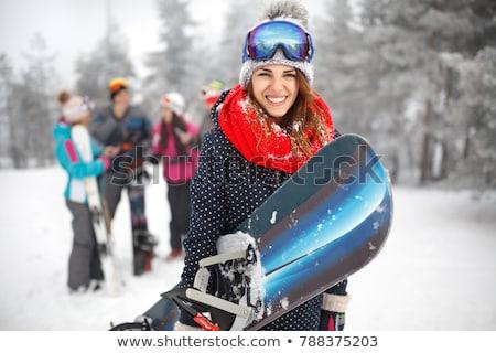 Snowboard portret helm masker Stockfoto © Anna_Om