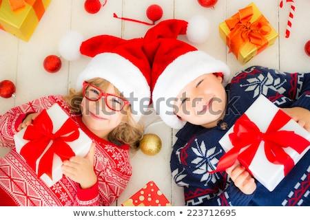 baba · fiú · gyerekek · karácsony · buli · aranyos - stock fotó © Anna_Om