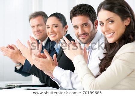 Elégedett büszke üzleti csapat tapsol kezek ül Stock fotó © boggy
