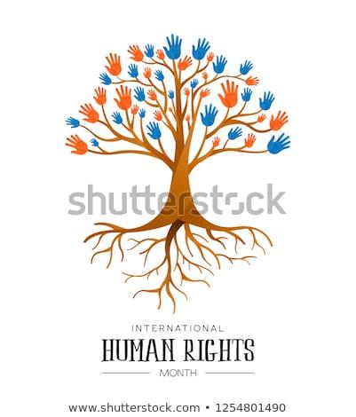 Derechos humanos árbol personas igualdad internacional conciencia Foto stock © cienpies