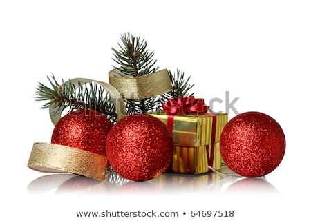 Golden Bauble Christmas Green Twigs Stock photo © limbi007