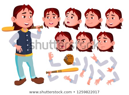 teen boy vector teenager cute comic joy face emotions various gestures baseball sport player stock photo © pikepicture