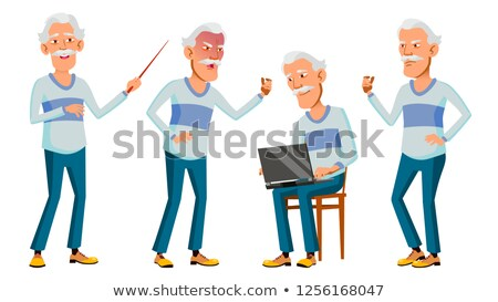 asian old man set vector gray hair elderly people senior person aged funny pensioner leisure stock photo © pikepicture