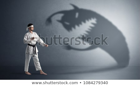 Karate hombre grande miedo sombra Foto stock © ra2studio