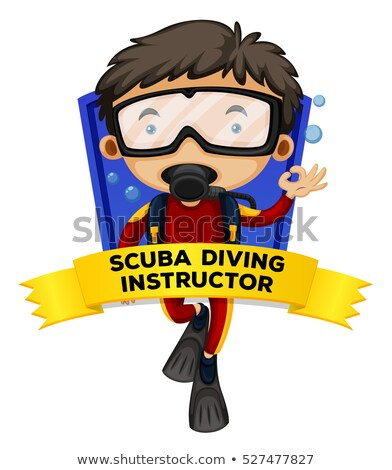 Occupation wordcard with scuba diving instructor Stock photo © colematt